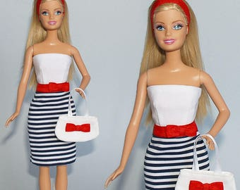 Barbie clothes - dress, bag, headband - handmade