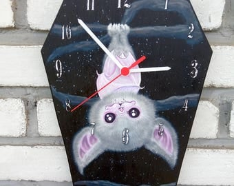 Wooden wall Cute white bat. Handmade wall clock. Coffin shaped. Gothic decoration.