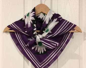 Vintage floral scarf in deep purple, white and green with mod pattern, made in Australia