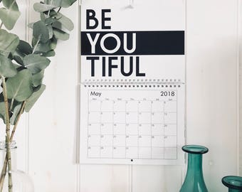 2018 Calendar // Wall Calendar, Quotes, Typography, Motivational Print, Inspirational, New Year, Calendar, 2018 , Office , Wall Planner