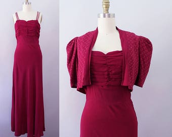 1940s Rayon Gown / Vintage 30s 40s Magenta Crepe Dress / S