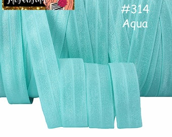 "5/8"" inch Aqua #314 FOE Fold Over Elastic - Solid Color - By the Yard- Shiny DIY For Headband - Light Blue Aqua Teal Turquoise"