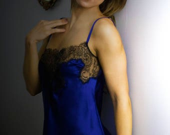 Luxury beautiful  lingerie and loungewear handmade in England. Chantilly lace and luxury silk midnight blue silk camisole