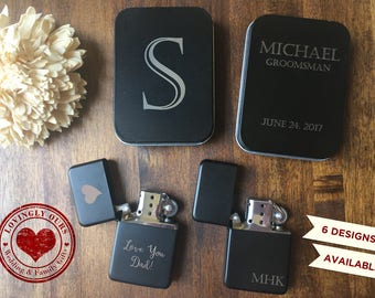 Mens Personalized Gift - Matte Black Finish Lighter and Black Tin Case  -  Laser Engraved with Name, Monogram or Initials - Father's Day
