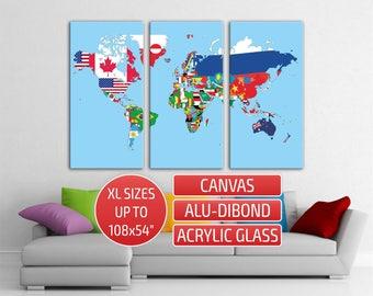 World Map flags Triptych contemporary wall art Home wall decor 3 panel Metal wall art Canvas Print Giclee print Canvas Art