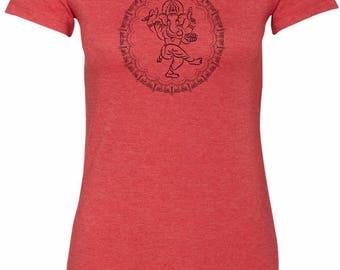 Yoga Clothing For You Circle Ganesha Black Print Womens Longer Length Tee T-Shirt = 6004-BCIRGANESH