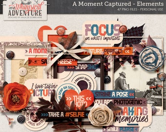 Photography Clip Art, Through The Lens, Capturing Moments, Digital Scrapbooking, Instant Download, Scrapbook Elements, Memory Keeper Book