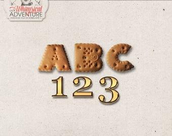 Cookie Alphabet, Gold Numbers, Instant Download, Digital Scrapbooking Elements, Zwarte Piet, Sinterklaas, Dutch Holiday, December Days