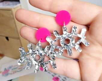 Daisy Superglittery Laser Cut Acrylic Earrings