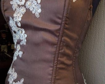 Pretty corset / bustier in smooth satin bronze taffeta dupion fabric / bronze reflections