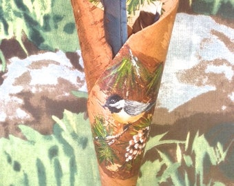 Birch Bark Folk Art - Robin on Pine Tree