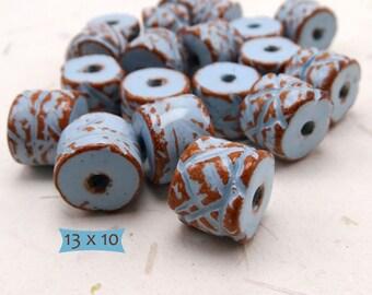 Artisan Incised Enameled Ceramic Beads Southwest Colors--5 Pcs.   38-SW300-5