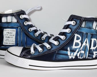 "GIFT!~ Pack of stickers !The Bad Wolf ""Doctor Who"" converse shoes Blue UNISEX SIZES! check the table"