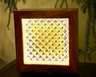 Hawaiian Koa Dichroic Glass Block Lamp | Table Lamp | Accent Lamp | Bookshelf Lamp | Mantle Lamp