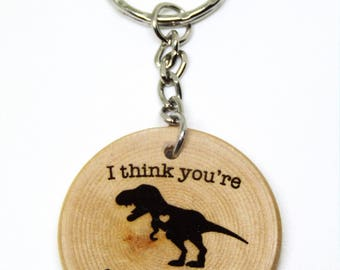 I Think You're Roarsome Dinosaur Quote Wooden Gift Keyring