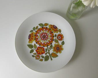 Vintage Plate with Orange, Purple and Green Retro Floral Design made by Seltmann Weiden Bavaria W-Germany 17130