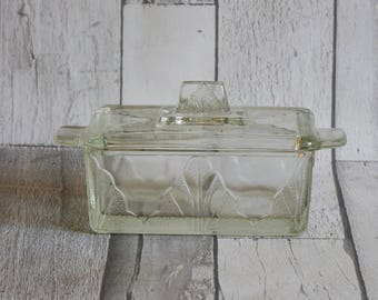 Vintage Art Deco Pressed Glass Butter Dish and Cover