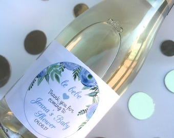 Personalised Baby Shower New Baby Floral Thank You Mini Wine Labels Favours