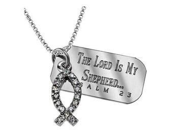 Rhinestone Fish Necklace/Custom Verse Tag- Women's