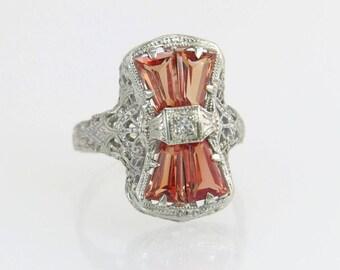 Antique Estate 2.00ct Orange Tourmaline & Genuine Diamond 14k White Gold Ring