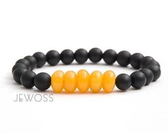 Sunny bracelet Black and yellow beaded bracelet Matte onyx bracelet Jade focal beads Stretch bracelet Simple stone Protective bracelet