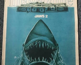 Rare, Vintage June 11 1978 Sunday News Magazine JAWS 2 Cover & Inside Article!
