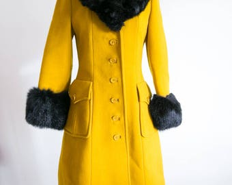 SALE RARE Youthcraft 1950s Gold Mustard Yellow Black Fur Trim Winter Wool Coat Small