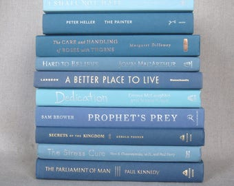Book Bundle in Shades of Blue, Decorative Book Set