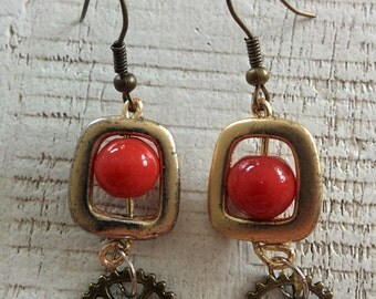 Vintage Style Upcycled Brass and Glass Earrings