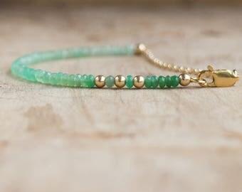 Ombre Green Bracelet, Chrysoprase Jewelry,  Green Stone Gold Silver Bracelet, Green Stacking Bracelet, Summer Jewellery