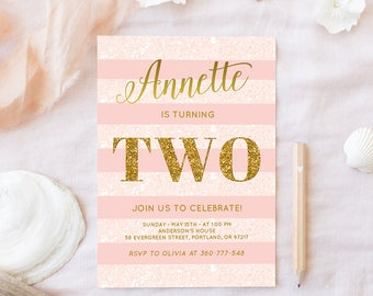 Second Birthday Invitation Pink And Gold Birthday Invitation Baby Girl Birthday Invite Pink Glitter 2nd Birthday Invite Printable Digital