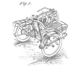 Side car attachment for Motorcycle. Patent #1,267,212 dated May 21, 1918.