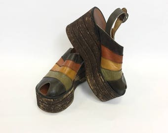 Vintage 1970s striped leather and cork platform wedge peep toe sandals shoes - size 40