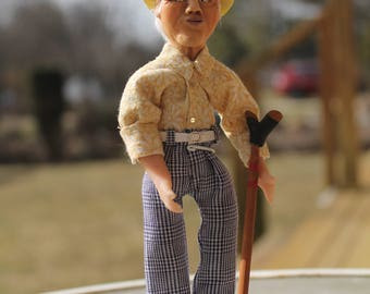 OOAK hand sculpted miniature collector doll senior citizen shuffle board