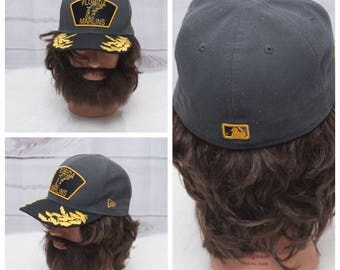 Florida Marlins New Era Vintage 1990s Gray Yellow Embroidered Garlands Wreaths Fitted Size 7 1/4 Major League Baseball Wool Blend Hat Cap