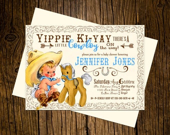 Cowboy Western Baby Shower Invitations Personalized Custom Printed Set of 12 Party Invites Vintage Ecru Rustic Blue Palomino Pony