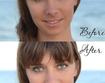Photo retouch of teeth whitening, make your smile shining. Custom photo retouching. Professional picture editing