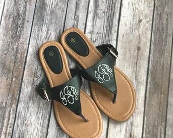 Monogrammed T Strap Sandals