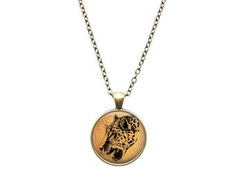 Leopard necklace Animal pendant Big cat jewelry