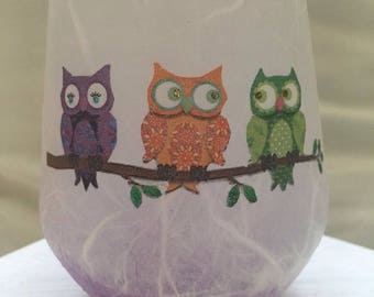 Tealight Holders/Glass/Cute Owls : birthday, wedding, anniversary, thankyou gift