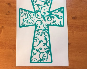 Cross Gifts for Pastors Wife, Cross Sticker for Car Window, Christian Car Decals and Gifts