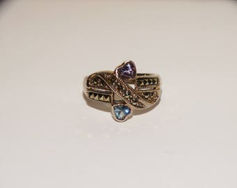 Vintage Size 7 Pink & Blue Heart Ring.