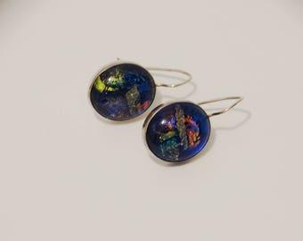 Sterling Silver Dichtroit Art Glass Designer Signed Earrings.