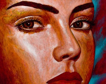 Tus Ojos Hermosos - Giclee on Canvas Mounted on  Wooden Block