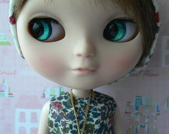 Blythe doll Pendant Necklace cherries golden chain for dolls handmade in France