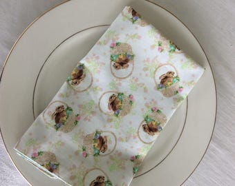 Easter Napkin Set of 2 - Easter Bunny Napkins - Easter Table Linens - Spring Table Linens - reversible cloth napkins