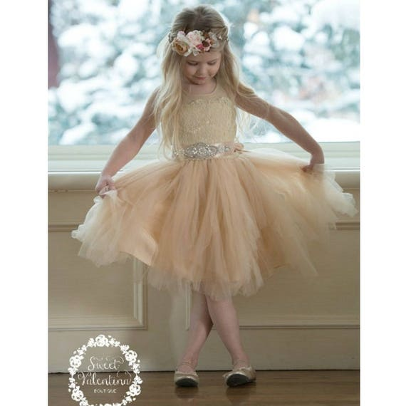 Champagne Lace Girl Dress