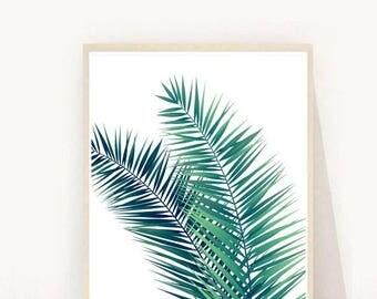 Tropical leaf Print, Leaf Print, Palm leaf print, Printable Art, Instant Download, Modern Wall Art, Home Decor, Wall Decor