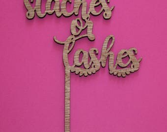 Staches or Lashes Gender Reveal Laser Cut Cake Topper