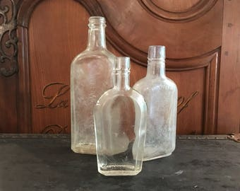 Vintage Bottles Set of 3 - Antique Wedding Decor - Vintage Centerpieces - Apothecary Bottles - Vases - Old Bottles - Glass Jars